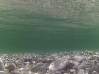 Řeka Salza pod vodou