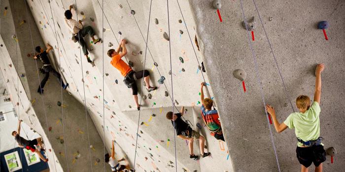 Lezci na lezecké stěně