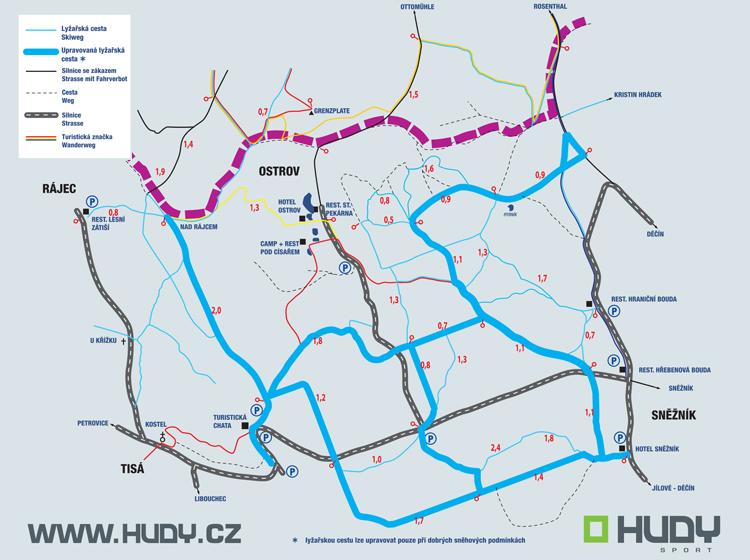 Lyžařská mapa Sněžník s kilometráží