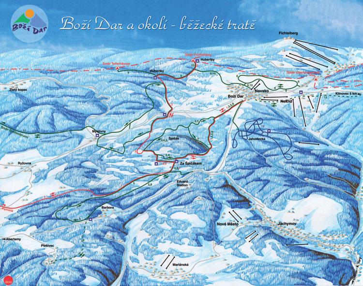 Běžecké trasy v oblasti Boží Dar na Krušnohorské magistrále