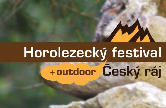 Horolezecký festival Český ráj s podkladem skalního mužíka