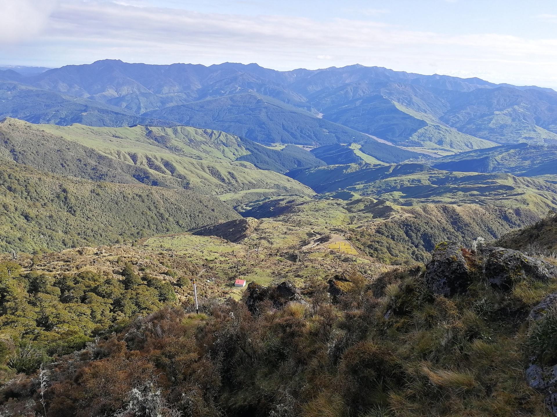 Po sestupu z džungle po úbočí hory Hikurangi se otevírá kopcovité panoráma s chatou v údolí
