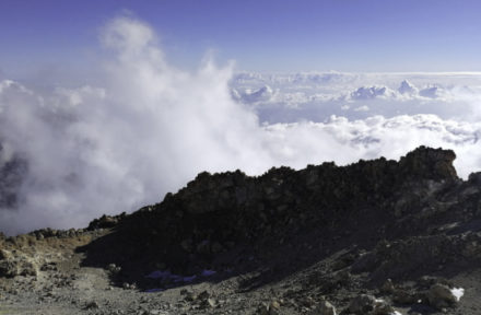 Pohled na mraky z vrcholu Pico del Teide